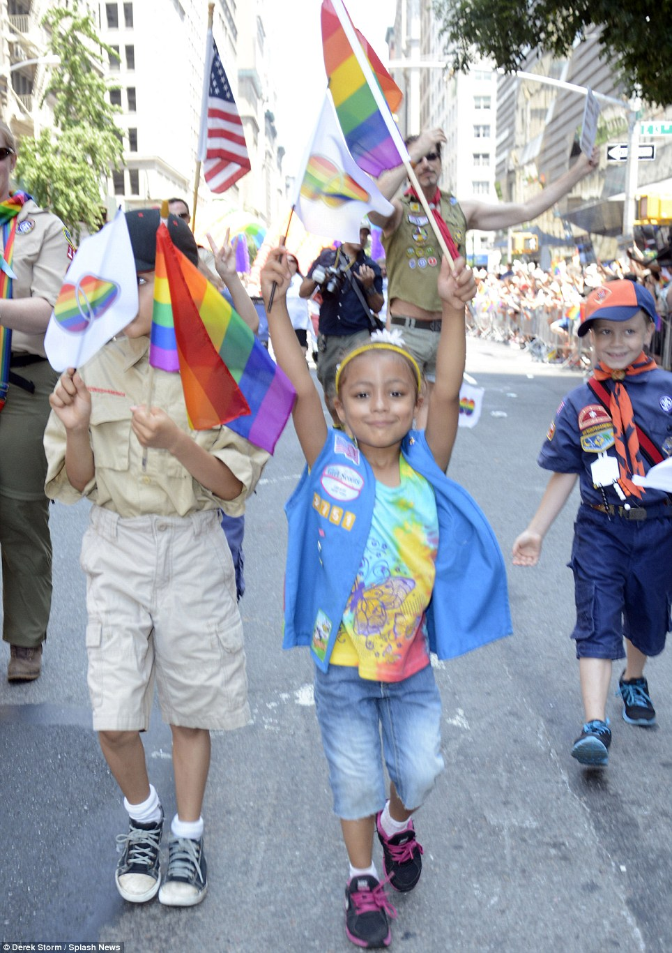 Children are seen participating in Sunday's New York march
