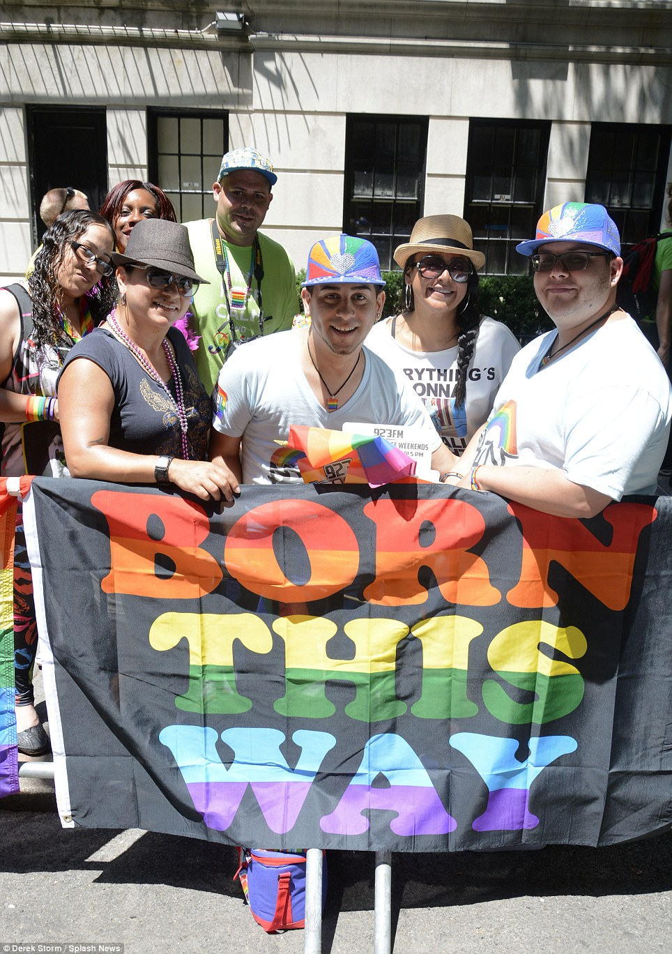 Born this way: Attendees hold a pride flag at the NYC march