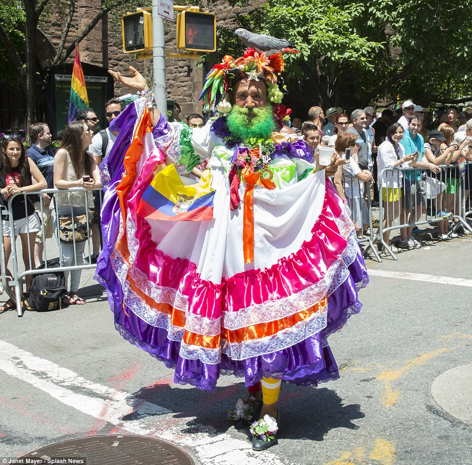 Fancy dress: A reveler wears a colorful costume during the New York parade