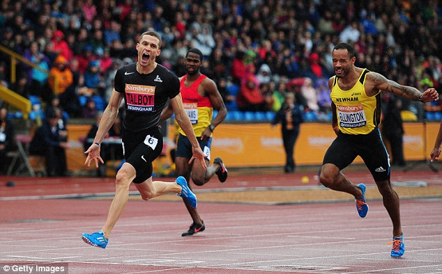 Talbot (left) celebrates after winning the Men's 200m Final in Birmingham on Saturday