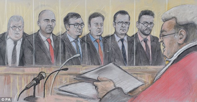 Court artist drawing by Elizabeth Cook of (from left) former News of the World news editor Greg Miskiw, reporter Dan Evans, journalist James Weatherup, former News of the World chief reporter Neville Thurlbeck, former News of the World editor Andy Coulson and private detective Glenn Mulcaire appearing at the Old Bailey, central London. PRESS ASSOCIATION Photo. Picture date: Monday June 30, 2014. See PA story COURTS Hacking. Photo credit should read: Elizabeth Cook/PA Wire