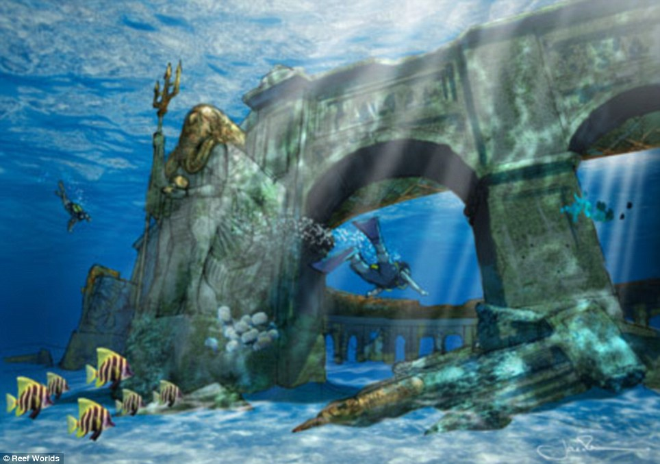 Grand designs: Guests will be able to explore 'ancient ruins' off the coast of Dubai