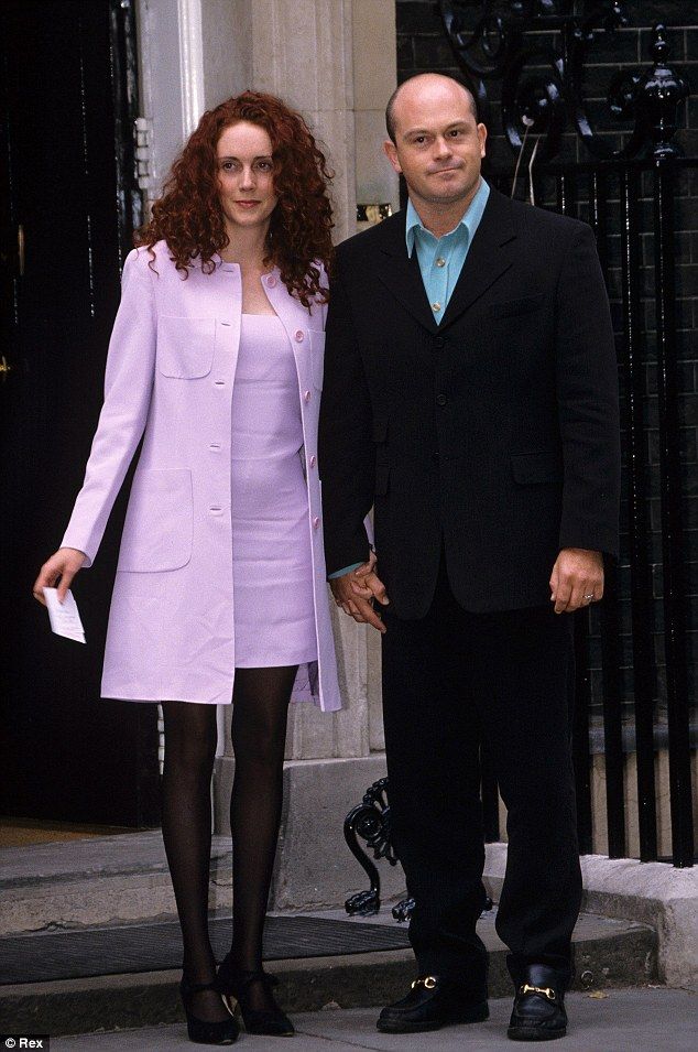 Rebekah Brooks (then Wade) arrives at the much-mocked 1997 reception at Downing Street, with ex-partner Ross Kemp