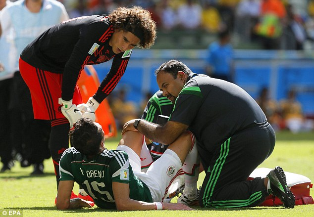 Sidelined: Hector Moreno will be out for several months after suffering a broken tibia against Holland