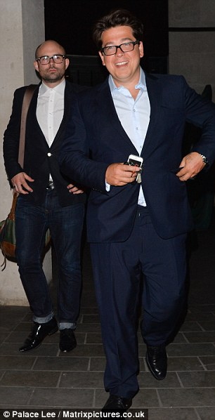 Funny man: British comedian Michael McIntyre was seen arriving at the party in London last night