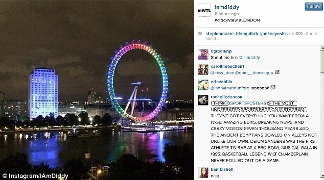 What a night: P Diddy uploaded this snap of the London skyline to his Instagram page in the early hours of this morning