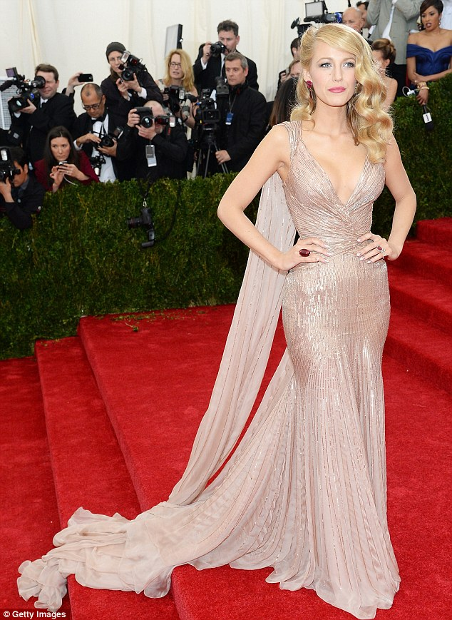 Trademark style: Blake, pictured at the Charles James: Beyond Fashion Costume Institute Gala, says she loves her hair to look natural and flowing because up-dos make her feel 'stiff'