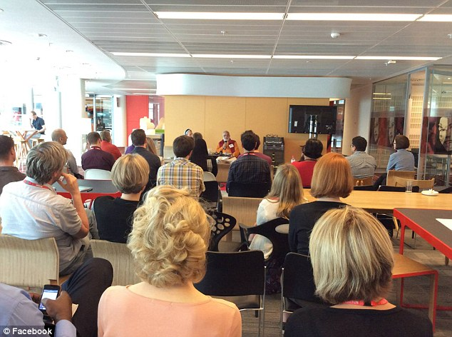 Photos from the talk on the swami's Facebook page show him addressing a room full of staff wearing a BBC identity card