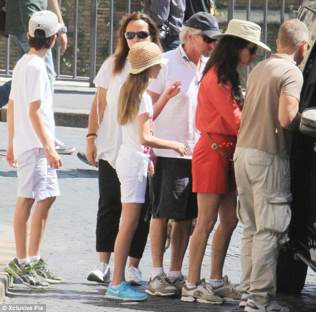 Sightseeing: The foursome were joined by some friends as they took in the famous sights of Rome over the weekend