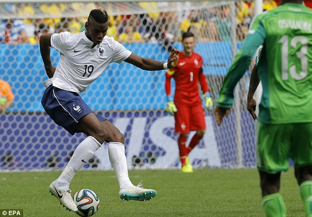 Skills: Pogba turns on the ball during France's last 16 tie against Nigeria at the Estadio Nacional in Brasilia
