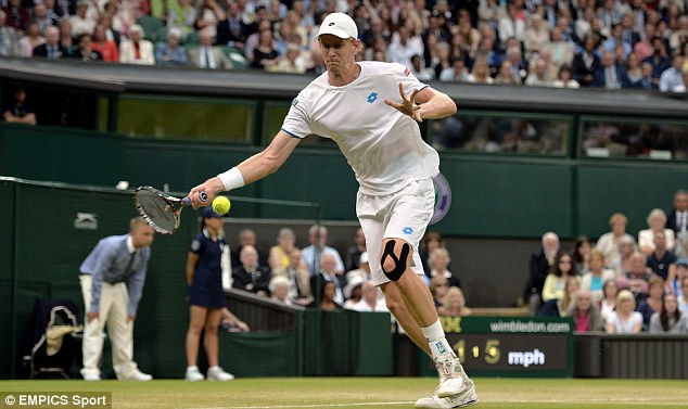 Giant effort: But 6ft 8in Kevin Anderson could not live with Andy Murray on Centre Court