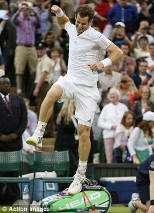 Jumping for joy: Murray celebrates