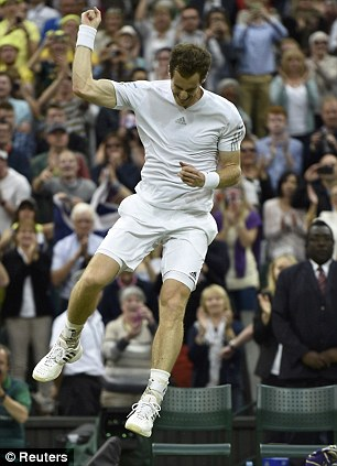 Jumping for joy: Murray celebrates his win