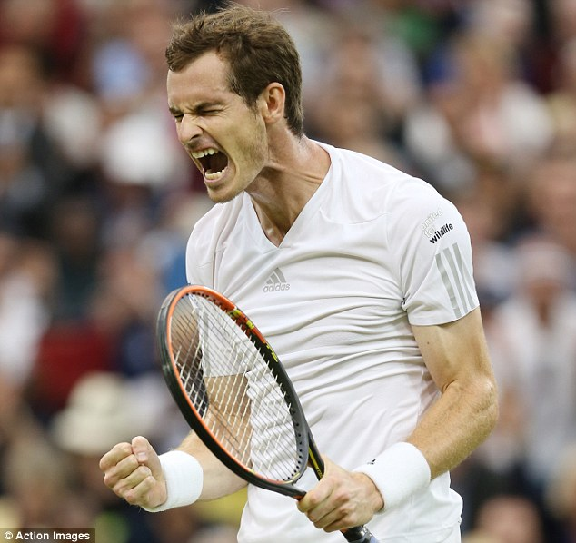 Roaring success: Andy Murray's bid to defend his Wimbledon title is still on after a straight sets win on Monday