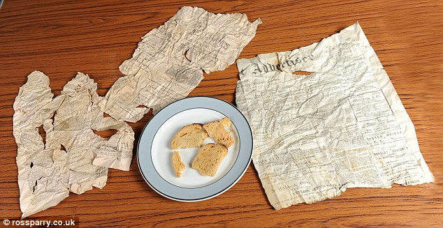 Accompaniment: The bread was found alongside crinkled pages of the Stockport Advertiser from 1896