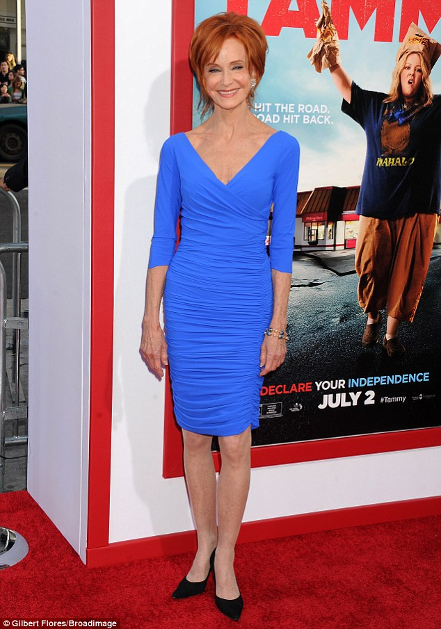Fashion high note: Swoosie Kurtz displayed her slender frame in a bright blue dress paired with black pointy heels