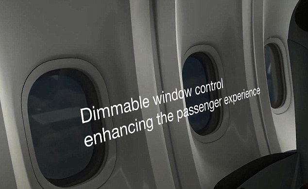 Too bright: Instead of just shutting the blinds, passengers will be able to 'dim' their windows to cut out excess sunlight
