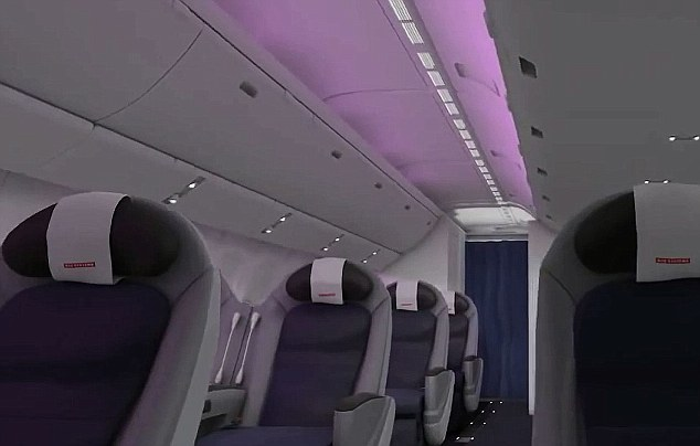 Mood lighting: Glowing LEDs will change the colour of lights during the flight to help passengers adjust to their new timezone