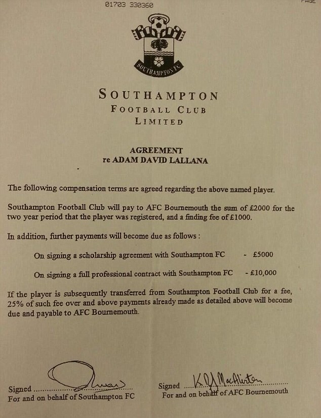 Put it in writing: The contract agreed when Bournemouth sold Lallana to Southampton in 2000