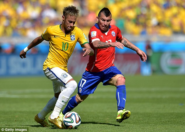 Close: Medel and Chile narrowly lost out to Neymar's Brazil on penalties in Belo Horizonte