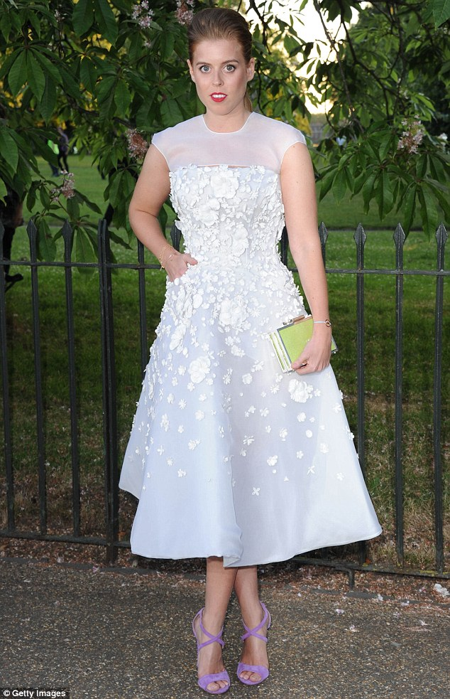 Striking: Princess Beatrice looked stunning in a soft pink and and white embellished gown at the Serpentine Gallery Summer Party in Kensington Gardens on Tuesday evening