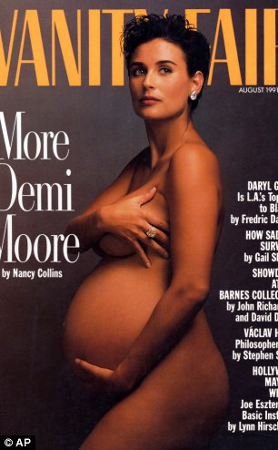 The Vanity Fair magazine cover from August 1991, depicting a pregnant Demi Moore, which was voted the second best magazine cover from the last 40 years,