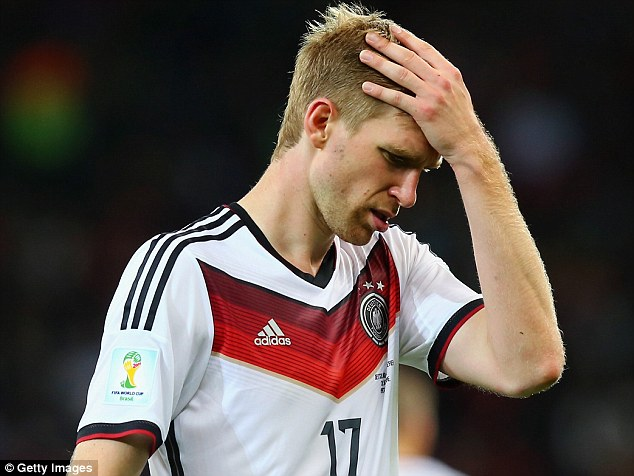 Annoyed: Mertesacker was visibly irritated by the criticism of his side's performance from Germany TV