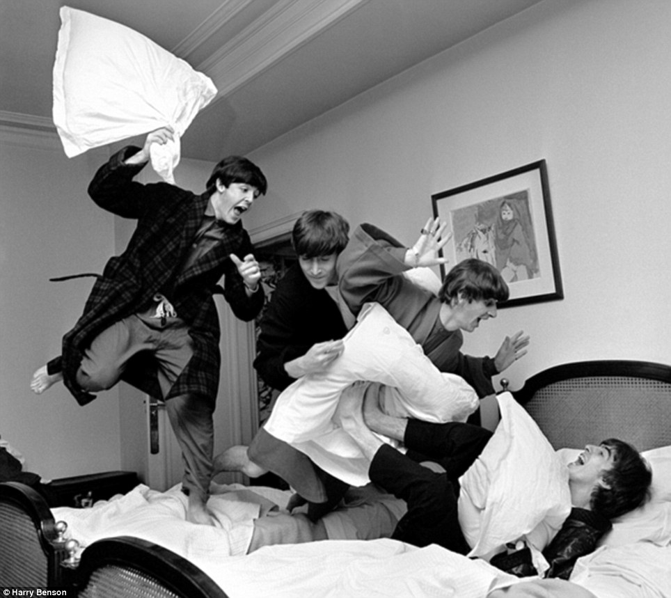 Famous: Benson's 1964 image of The Beatles having a pillow fight in a Paris hotel room has become one of the world's most-recognised images of the pop group