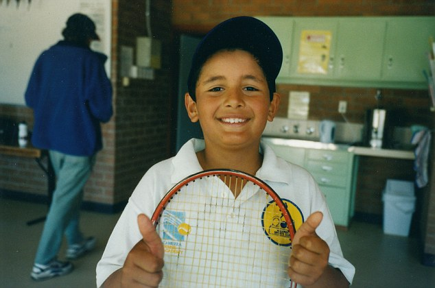 The star, pictured here as a youngster, said his decision to pursue a career in tennis rather than basketball was 'the best choice' of his life