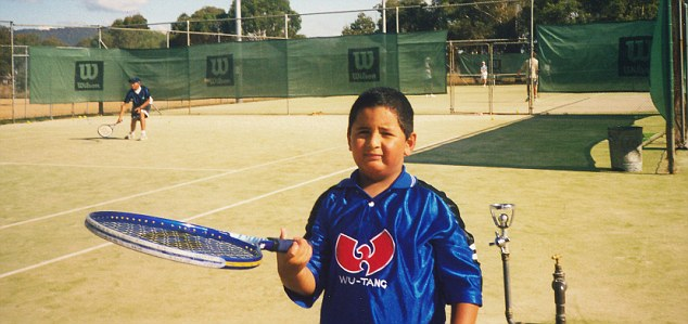 Kyrgios, pictured here as a tennis-playing child, was described by British tennis star Andy Murray as 'the next big Aussie star'