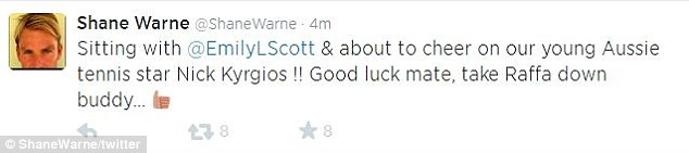 Former Aussie cricketer Shane Warne has tweeted his support for the young tennis player from the stands at Wimbledon