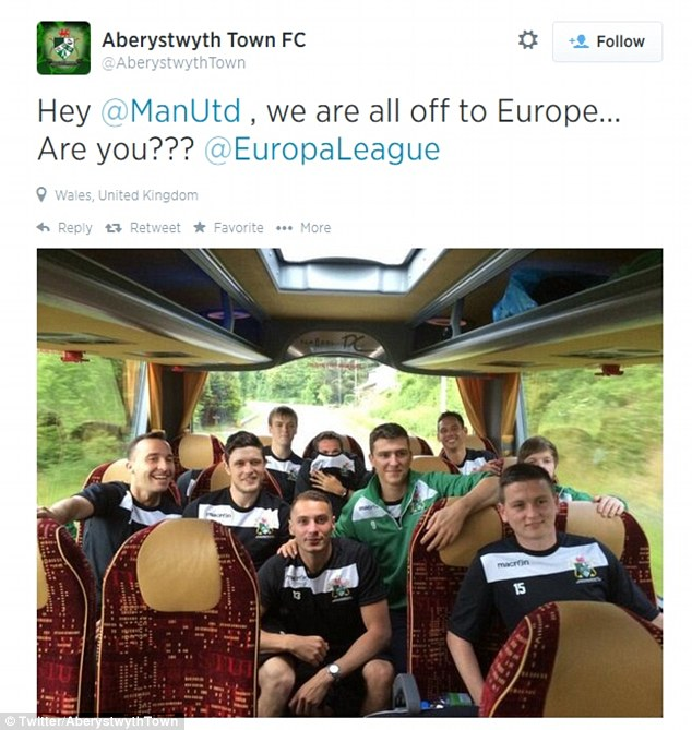 Banter: Aberystwyth Town tease Manchester United on their way to play Derry City