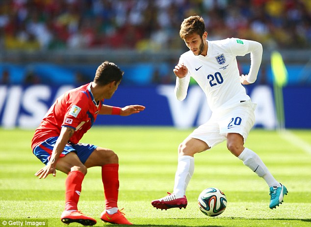 England star: Adam Lallana played for England at the World Cup in Brazil