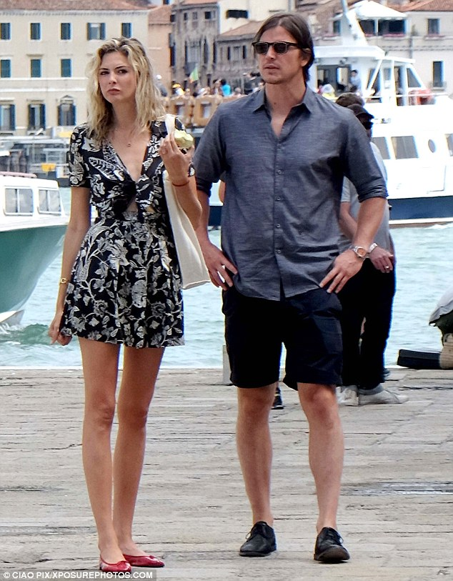 Venice vacation: Josh Hartnett and Tamsin Egerton don't look in any hurry to head home as they both took the opportunity to show off her legs while on holiday in Venice