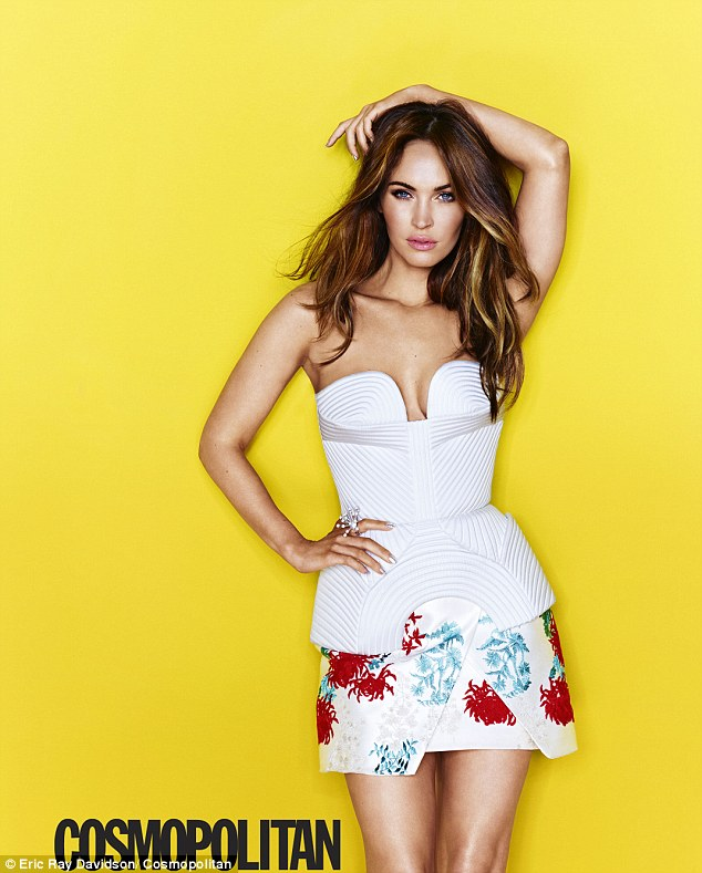 Cover girl: Actress Megan Fox poses in a variety of flirty and curve accentuating outfits for the August issue of Cosmo
