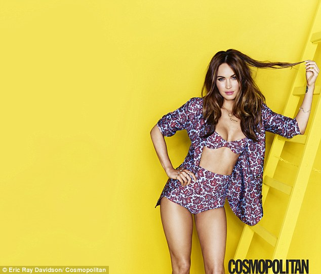 Pretty in paisley: The sexy brunette, who is married to actor Brian Austin Green, modeled a cute bikini with matching shirt in one of the inside shots for the mag