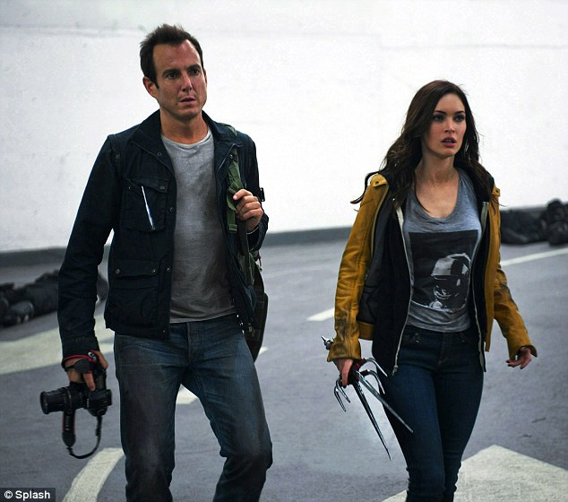 Action star: Mother-of-two Megan stars alongside Will Arnett in TMNT which hits theatres August 8