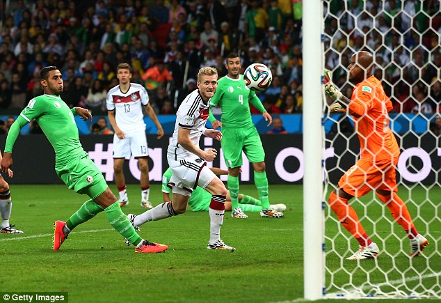 Super sub: Andre Schurrle cam on to change the game in Germany's Last 16 victory over Algeria