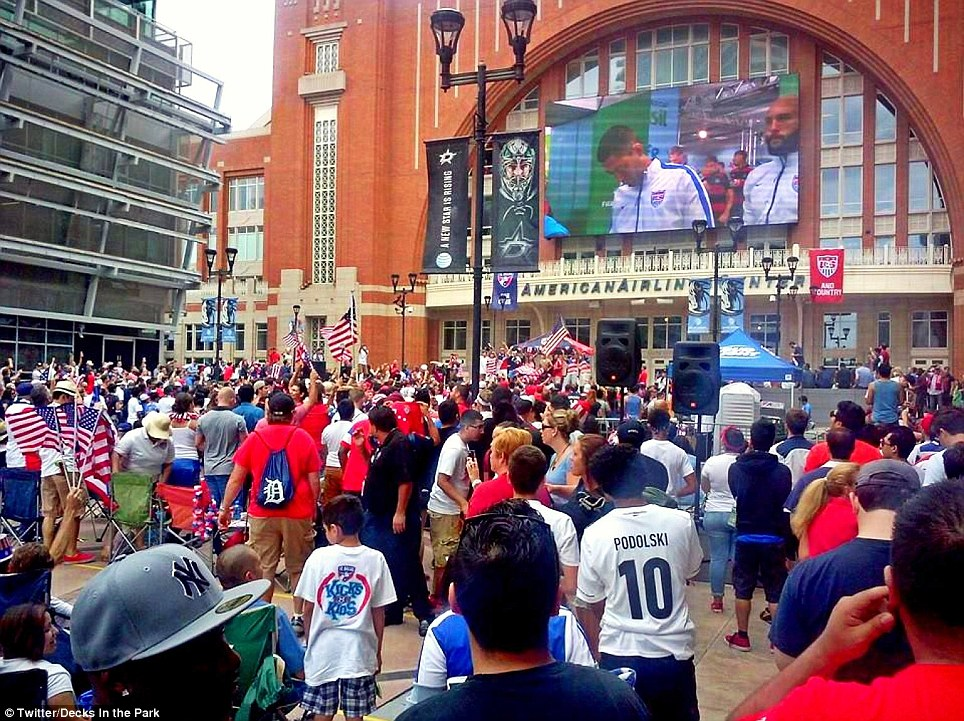 Hundreds of fans gathered outside American Airlines Center, home of the city's NBA and NHL teams, to reserve a spot at the city's public viewing party
