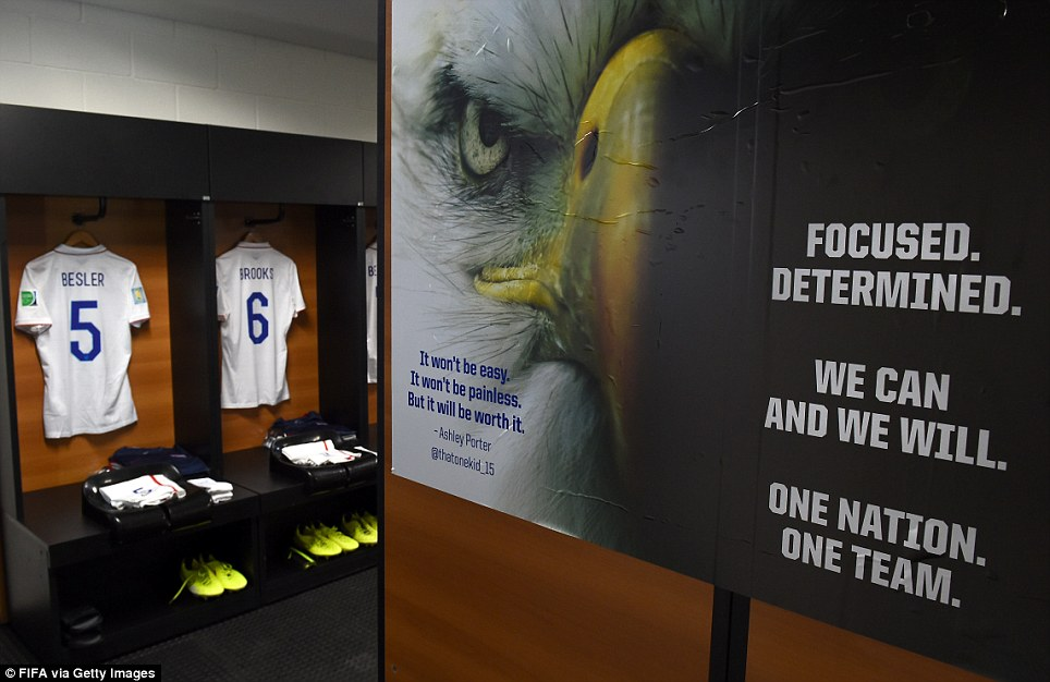 This is the USMNT's locker room in Salvador, Brazil, where the team will be playing today. Coach Klinsmann gave his players these words of inspiration