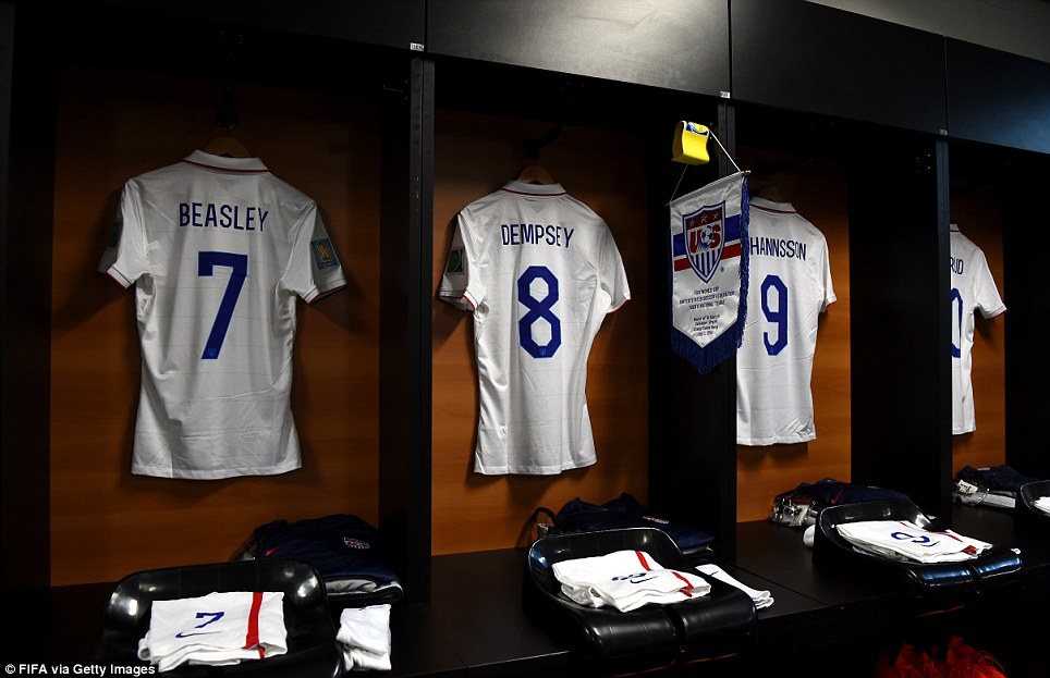 Gearing up: The USMNT took at the pitch at 4pm EDT to face off against the Belgium in the Round of 16