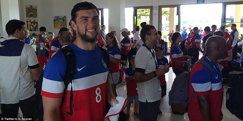He believes: Indianapolis Colts quarterback Andrew Luck traveled to Salvador, Brazil with his family to cheer on the USMNT against Belgium