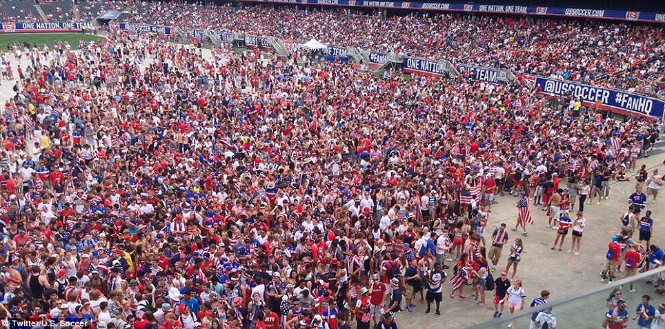 They believe: Thousands of fans filled Soldier Field in Chicago to watch the USMNT's do-or-die match against Belgium