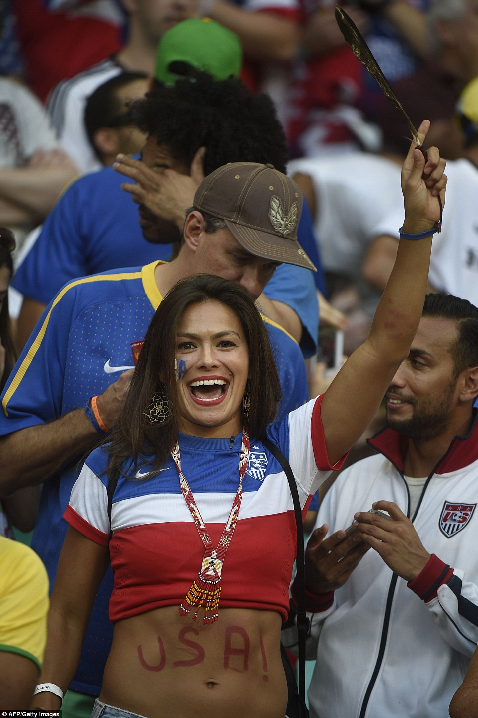 USA fans cheer before a Round of 16 football match between Belgium and USA at Fonte Nova Arena in Salvador