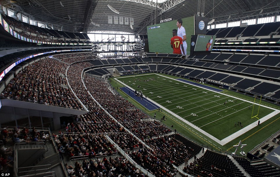 At At&T Stadium, home of the Dallas Cowboys, organizers expected 5,000 people to show up to watch the game on the big screen. More than 10,000 came