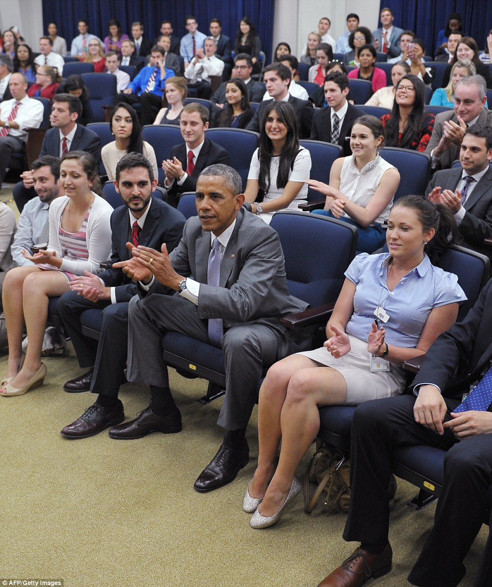 President Barack Obama took time out of his busy schedule to watch the match with White House staffers in the South Court Auditorium