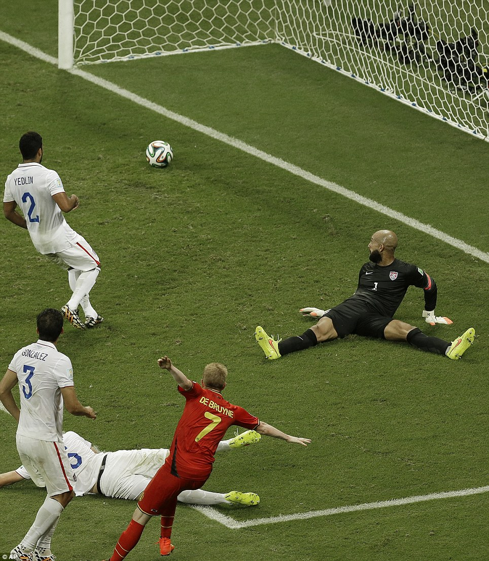 Shot heard round the world: Tim Howard finally missed a save in the 93rd minute when Belgium's Kevin De Bruyne found the net and took the lead