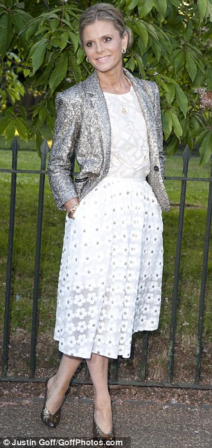 On form: Actress Emilia Fox arrives in a embellished skirts and striking silver jacket
