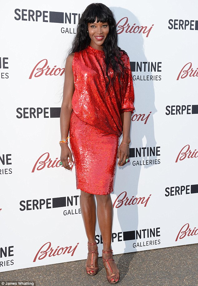 In coming: Naomi Campbell poses for photos after making her way inside for the Serpentine Gallery Summer Party