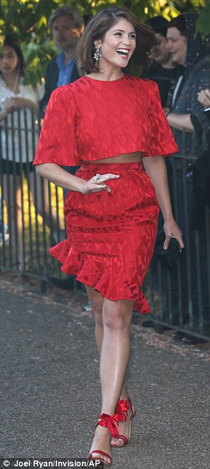 Good times: Gemma was in high spirits as she made her way inside the Serpentine on Tuesday evening